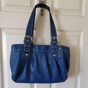 Coach Bags - COACH Royal Blue Genuine Leather Large Handbag